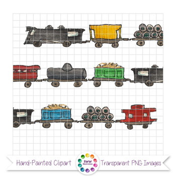 Railroad Doodles - Ink and Watercolor Train Clipart