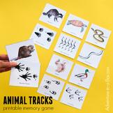 Animal Tracks: Printable Nature Memory Matching Game for Kids