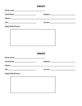 Classifying Animals- Trading Card Note Sheet