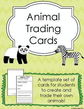 animal trading cards template by kimberly frazier tpt