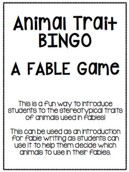 Animal Trait BINGO (for Fables)
