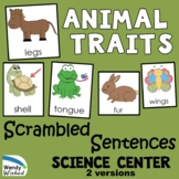 Scrambled Sentence Animal Traits Science Center Activity