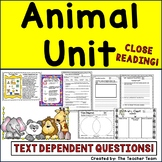 Animal Unit | Reading Comprehension Passages and Questions | Report Template