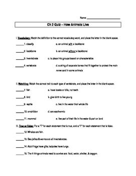 Animal Unit Quiz