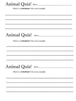 Animal Vertebrate Quiz