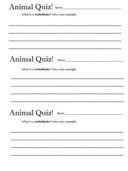 Animal Vertebrate Quiz