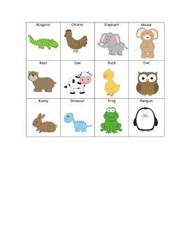 Animal Vocabulary Bingo