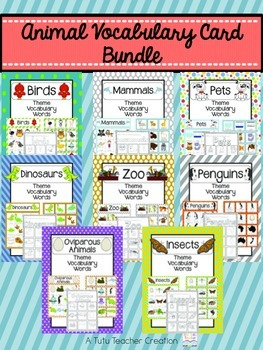 Animal Vocabulary Cards Bundle