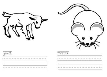 Animal Vocabulary Cards & Word Work for Emergent Readers and ESL Learners
