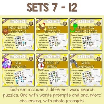 Animal Vocabulary Matching Puzzles BUNDLE (24 Worksheets, 12 sets with keys)