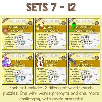 Animals 24 Picture and Definition Matching Puzzles MEGA BUNDLE - SAVE BIG!