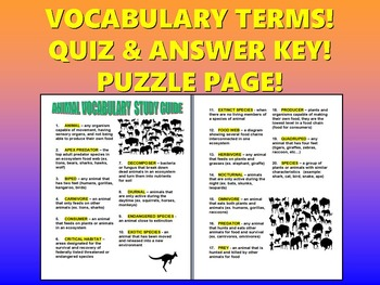 Animal Vocabulary Quiz (20 Terms with Definitions, Answer Key, Puzzles)