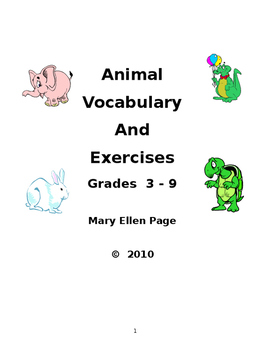 Animal Vocabulary and Exercises Gr.3-9