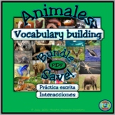 Animal Topic Vocabulary and Worksheets Activity Bundle Plus Script