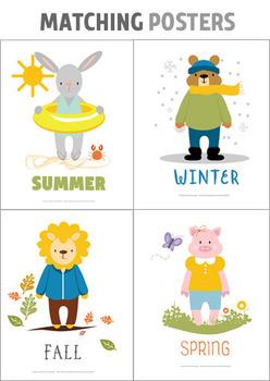 Animal Weather Theme Bulletin Board, Seasons Posters, Seasons Coloring Sheets