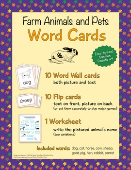 Animal Word Cards - Farm Animals and Pets