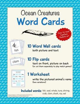 Animal Word Cards - Ocean Creatures
