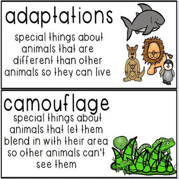 Nonfiction Write the Room Cards Animals