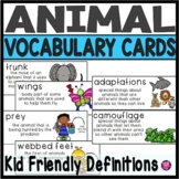 Animal Vocabulary Word Wall Cards and Flash Cards