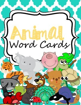 Animal Word Cards for Writing Center or Word Wall