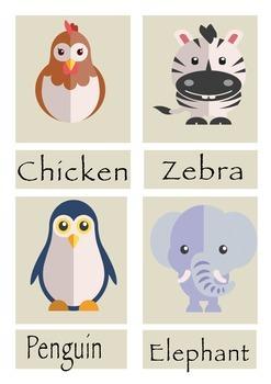 Animal Word Match Cards