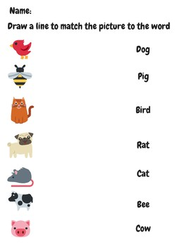 Animal Word Picture Match