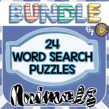 Animal Word Search Puzzles BUNDLE (24 Worksheets, 12 sets with keys)