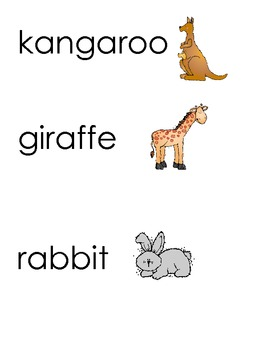 Animal Word Wall Cards