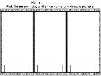 Animal Word Wall Cards and Worksheet