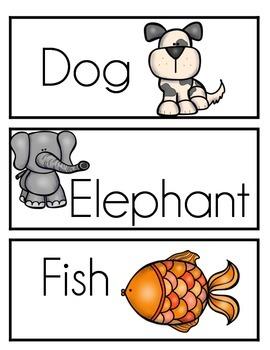 Animal Word Wall Words