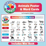 Reading With Color: Animals Poster, Word Cards, & Mini Book