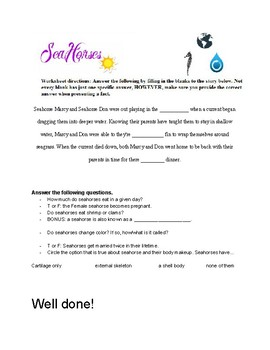 Animal Worksheet Packet- Seahorse