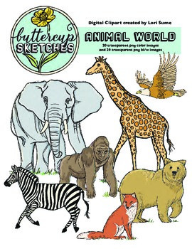 Animal Realistic Clip Art Collection: 20 realistic animals in color and b/w