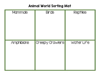 Animal World Sorting Map