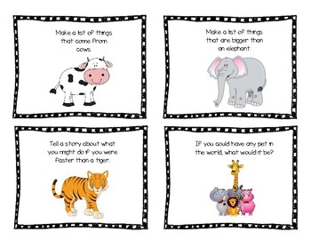 Animal Writing Prompt Task Cards by Kristy's Kurriculum | TpT