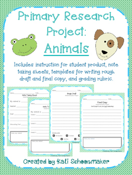 Animal Writing Research Project for Primary Grades