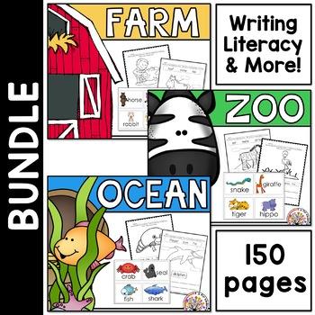 Writing and Literacy Bundle:  Farm, Ocean, Zoo