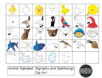 Animal Zoo: Digraph and Diphthong Animal CLIP ART