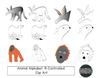 Animal Zoo: R-Controlled Animals CLIP ART
