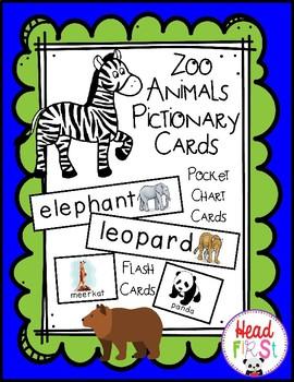 Animal Zoo Theme Pocket Chart Word Cards