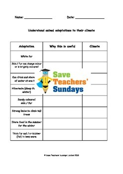 Animal adaptations in different climates Lesson plan and Worksheets