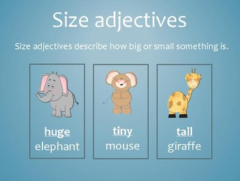Animal adjectives activity pack