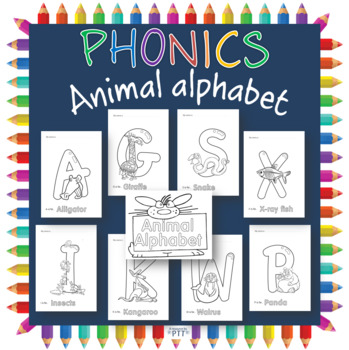 Animal alphabet coloring pages for display