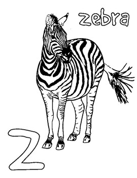Animal alphabet coloring pages vol.3: S-Z, snake, whale, zebra