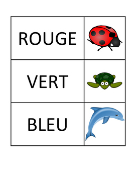 Animal and Colour Matching Cards (En Français)
