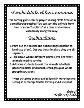 Animal and Habitat sort (en Français)