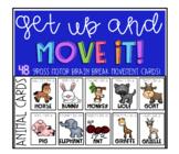 Animal brain break movement cards half off for 48 hours