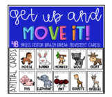 Animal brain break movement cards