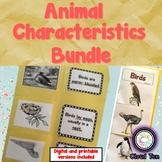 Animal characteristics:Fish, insects, mammals, reptiles, a