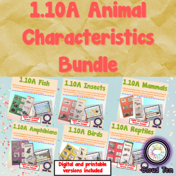 Animal characteristics:Fish, insects, mammals, reptiles, a
